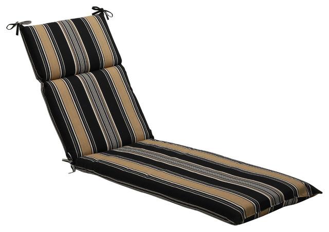 Black tan stripe outdoor chaise lounge cushion for Black and white chaise lounge cushions
