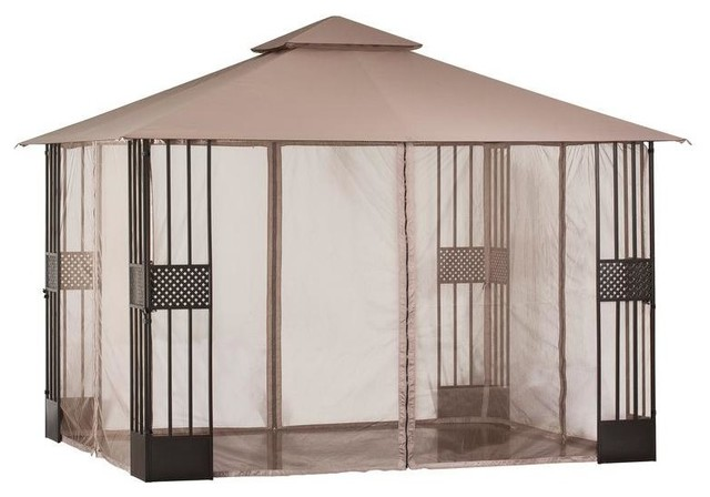 Hampton Bay Gazebos 12 ft. x 10 ft. Gazebo with Mosquito Netting Browns / Tans - Contemporary ...