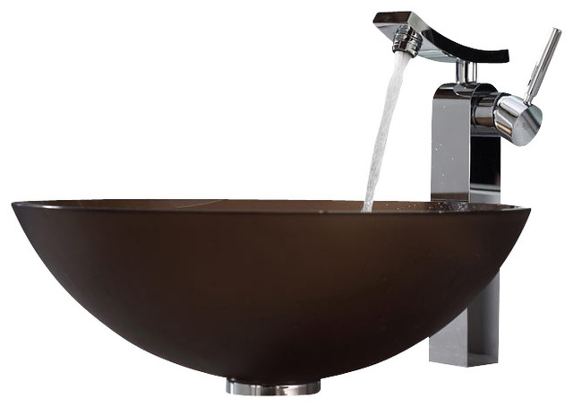 Brown Bathroom Sink : ... Brown Glass Vessel Sink and Unicus Faucet contemporary-bathroom-sinks