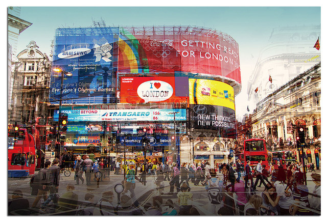 Tempered Glass Wall Art, 3D London Piccadilly CIrcus - Traditional - Prints And Posters - by ...
