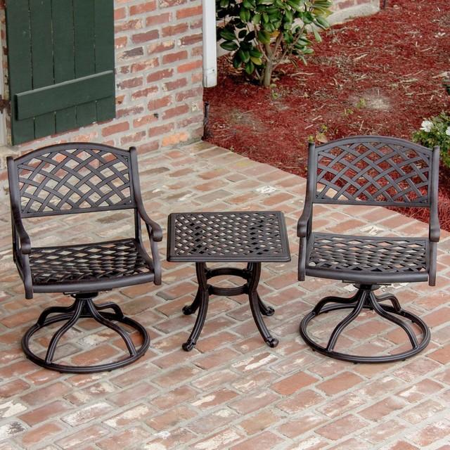 heritage 2 person cast aluminum patio bistro set modern