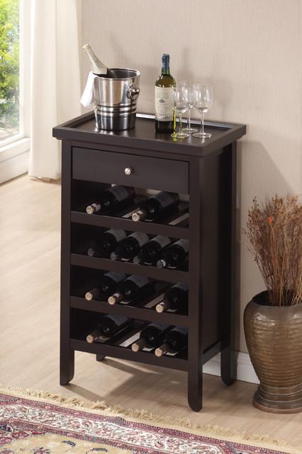 Atlanta dark brown wood modern wine cabinet contemporary wine and bar