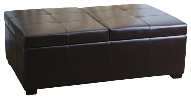 Harrison Bicast Leather Double Flip Top Storage Ottoman Contemporary Footstools And Ottomans