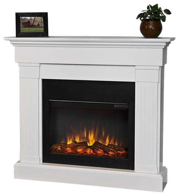 Real Flame Crawford Slim Line White Electric Fireplace Traditional Indoor Fireplaces