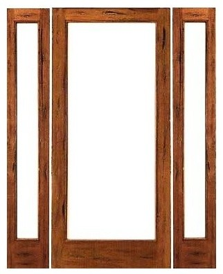 Pre hung rustic 1 lite patio solid ig glass sidelights for Solid wood patio doors