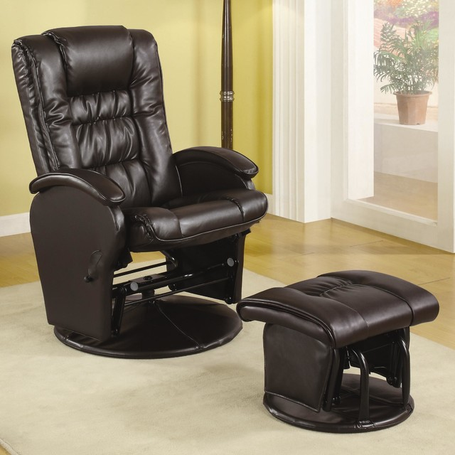 Brown leather like glider contemporary furniture other metro