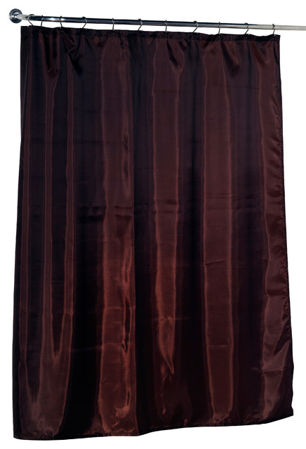 Standard Sized Polyester Fabric Shower Curtain Liner In Brown Traditional