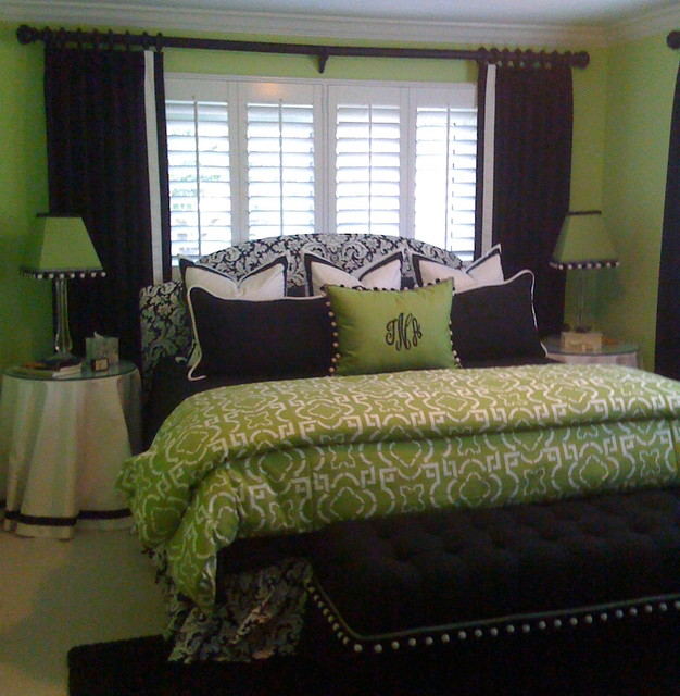 Green Bedroom Contemporary Window Treatments Tampa