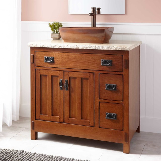 Rustic Bathroom Vanity With Vessel Sink Home Decor