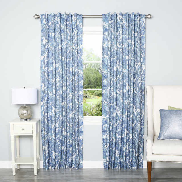 Blue Digital Paisley Rod Pocket 84 Inch Curtain Panel Pair Contemporary Curtains By