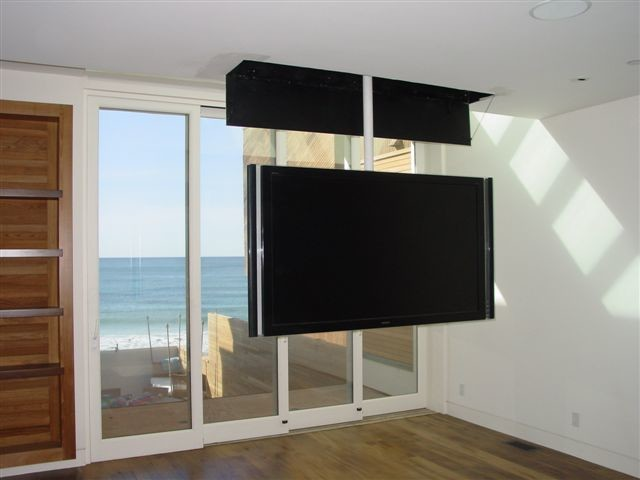 Attic Mount Tv Lift Swivel Contemporary Bedroom