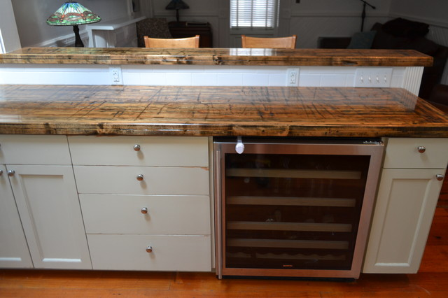 Reclaimed Wood Countertops : Reclaimed railcar truck bed planks traditional