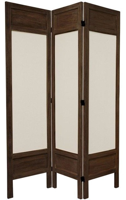 3 Panel Solid Wood Screen Room Divider Blinds Shades: 5 1/2 Ft. Tall Solid Frame Fabric Room Divider