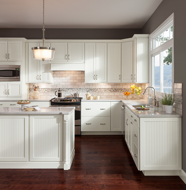 Transitional Kitchens With White Cabinets: Cottage Painted Linen Cabinets
