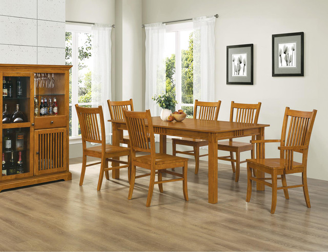 dining 7 pc country mission medium brown wood dining room