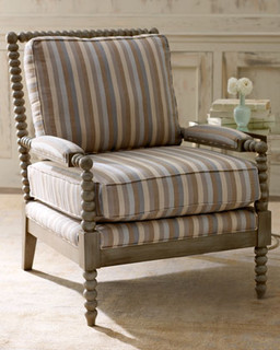Dorian stripe bobbin chair traditional living room for Striped chairs living room
