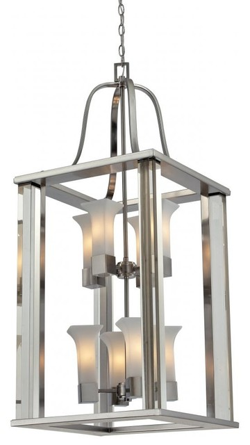 Brushed Nickel Foyer Lighting : Brushed nickel light foyer pendant with cream glass