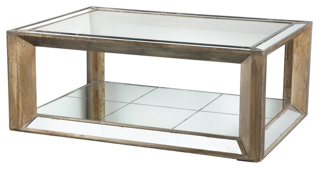 Julia Wood Glass Mirrored Coffee Table Contemporary Coffee Tables By