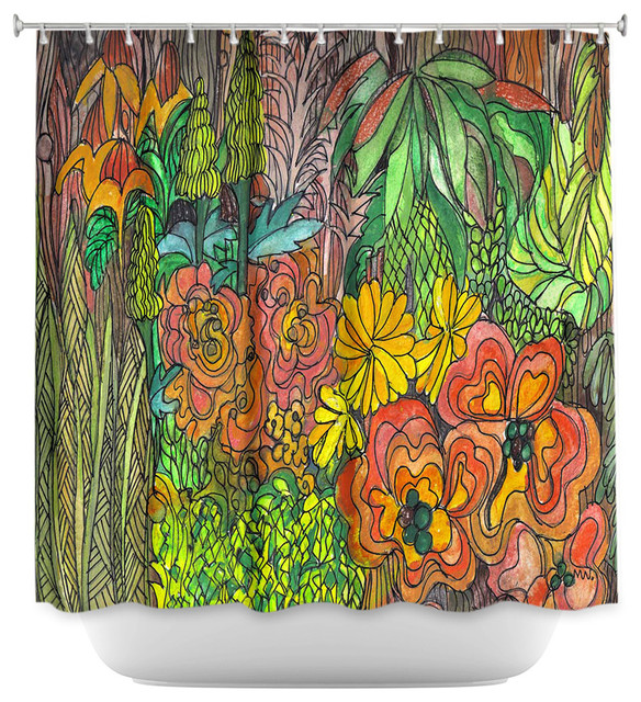 Dianoche Designs Shower Curtain By Maeve Wright Tropical Orange And Green Contemporary