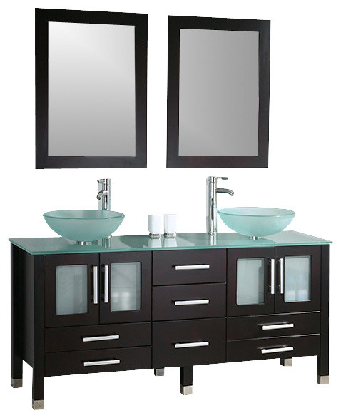 Cambridge 71 inch solid wood and glass double vessel sink for 71 inch double sink bathroom vanity