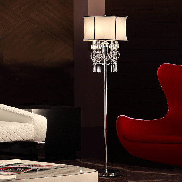 Modern Floor Lamps Overstock : Tribecca home hyland inch crystal floor lamp contemporary lamps by overstock