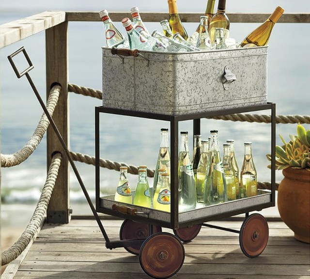 Galvanized Metal Rolling Wagon Party Bucket Eclectic