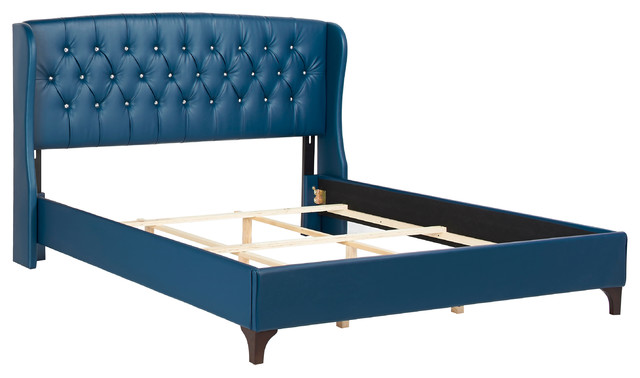 Sophia Tufted Wingback Bed Set Navy Blue King Traditional Panel