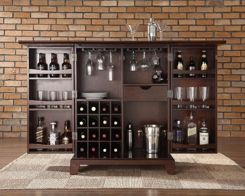Newport Expandable Bar Cabinet in Vintage Mahogany - Modern - Kitchen Cabinetry