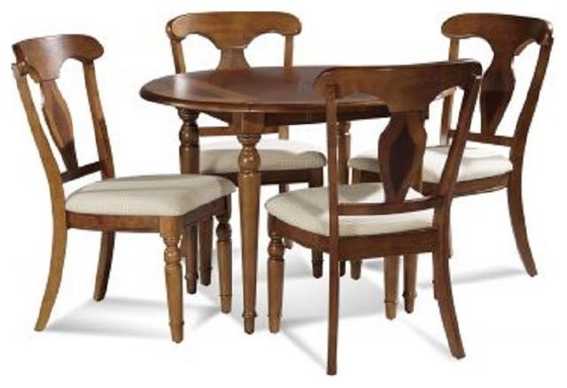 Bassett Mirror 5 Pc Charles X Round Drop Leaf Table Dining Room Set 8048