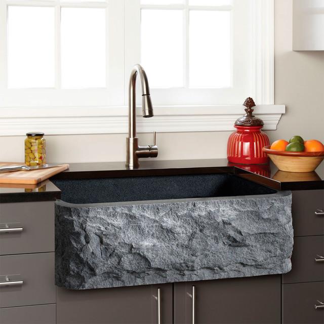 Stone Apron Sink : GRANITE FARMHOUSE SINK - CHISELED APRON - Transitional - Kitchen Sinks ...
