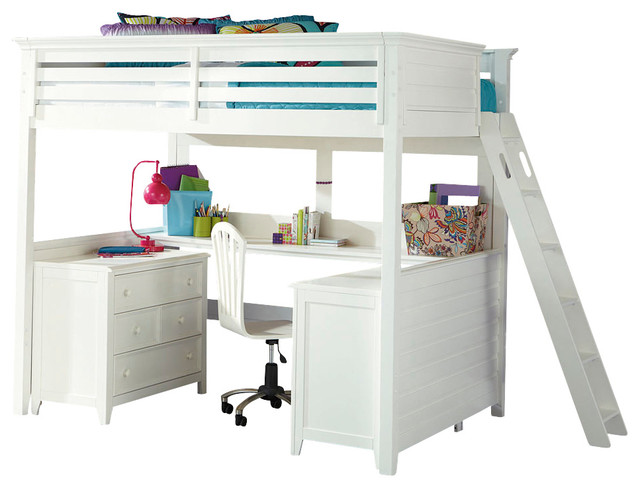 Lea Willow Run Tall Loft Bed With Desk In Linen White