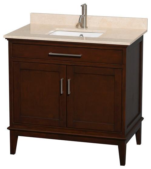 """36"""" Single Bathroom Vanity, Ivory Marble Countertop, Undermount Sink ..."""
