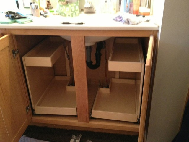 Bathroom Pull Out Shelves with Risers and Notched Corners - Bathroom Cabinets And Shelves ...