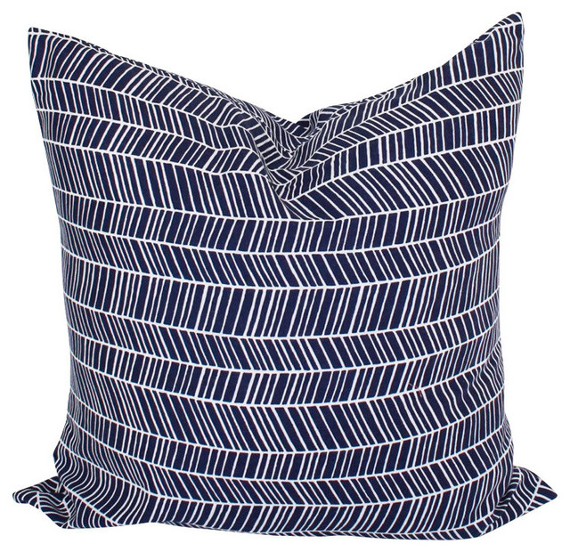Navy Blue Throw Pillow Covers : Herringbone Throw Pillow Cover, Navy Blue, 16