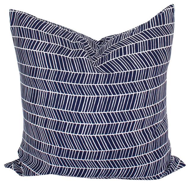 Herringbone Throw Pillow Cover, Navy Blue, 16
