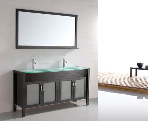 60 Solid Wood Double Sink Vanity Tempered Glass Top Espresso Cb6011 Modern Bathroom