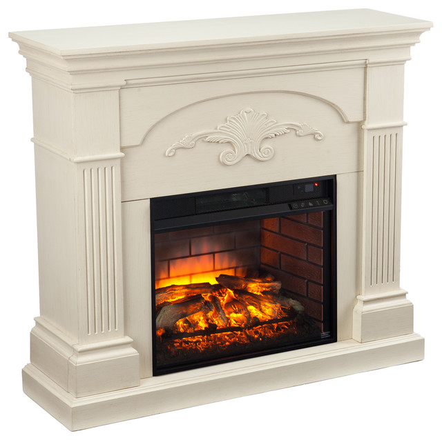 Italia Infrared Electric Fireplace Ivory Modern