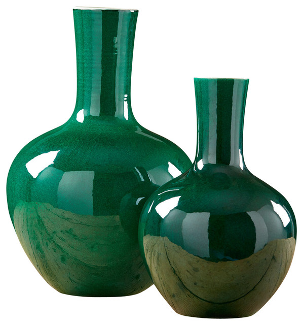 Imperial Green Straight Collar Vases, Set of 2 ...