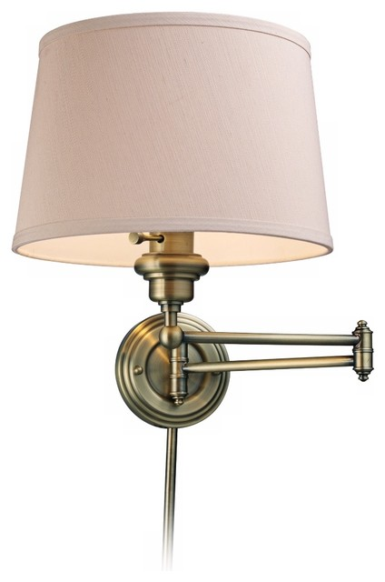 Wall Lamps That Plug In : Westbrook Antique Brass Plug-In Swing Arm Wall Lamp - Traditional - Wall Lighting - by Lamps Plus