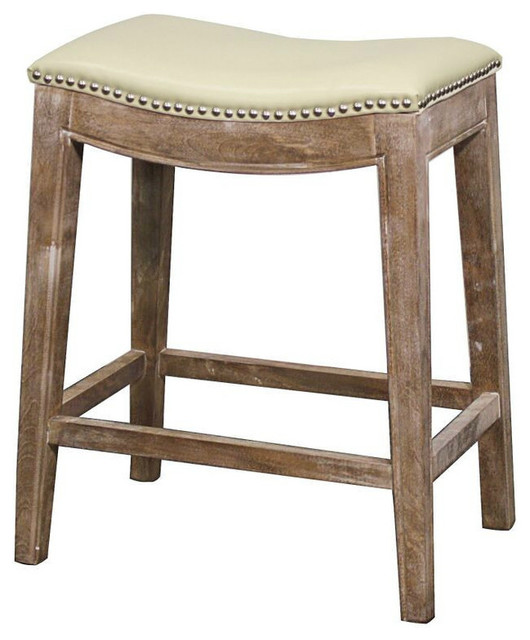 Rustic Kitchen Bar Stools: Elmo Bonded Leather Counter Stool, Gray Finish And Beige