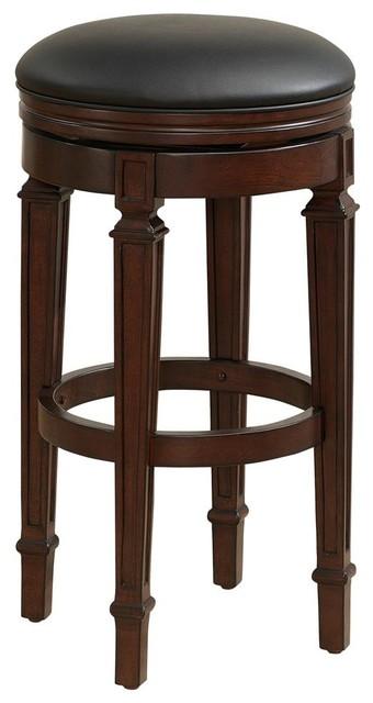 Upholstered bar stool in navajo finish traditional bar - Traditional kitchen bar stools ...
