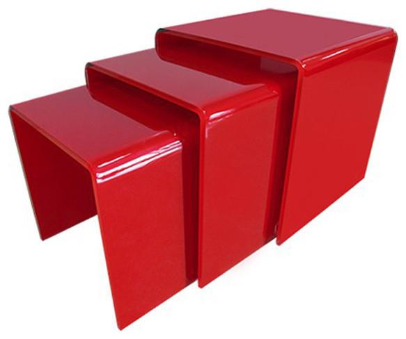 table gigogne verre rouge design contemporain table d 39 appoint et bout de canap par. Black Bedroom Furniture Sets. Home Design Ideas