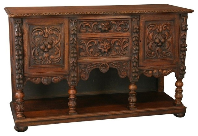 Consigned Antique Oak Table, 1880 - Victorian - Buffets And Sideboards