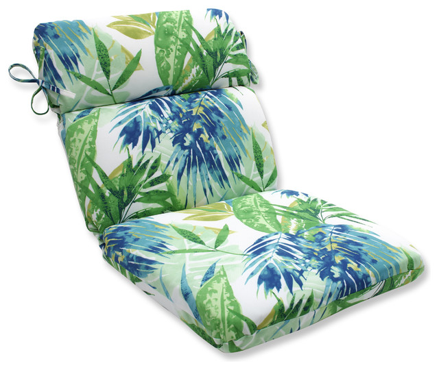 Soleil Blue Green Rounded Corners Chair Cushion Tropical Outdoor Cushions