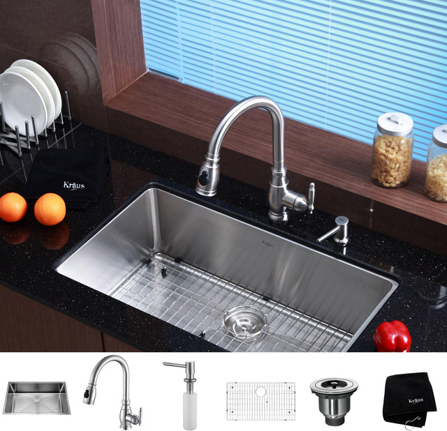 Kraus Kitchen Combo Set Stainless Steel 32-inch Undermount Sink with ...