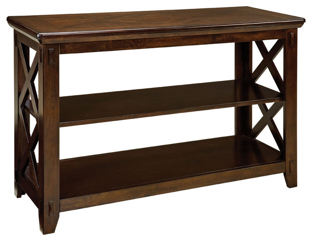 Standard furniture sonoma sofa table in dark tobacco for 10 spring street console table
