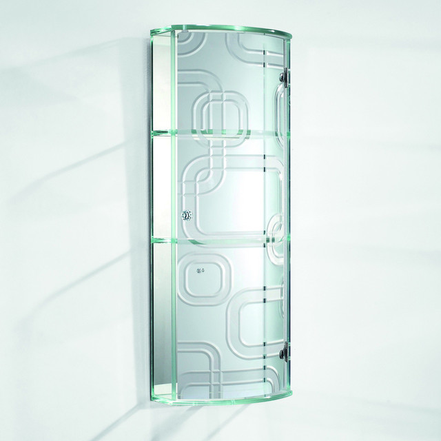 Tempered Glass Cross Design Wall Cabinet with Mirror - Contemporary - Medicine Cabinets - by ...