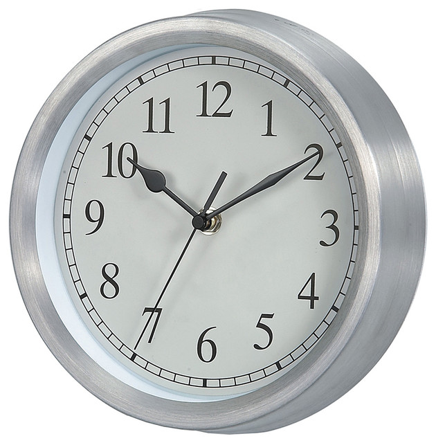 Silver white verichron basic wall clock contemporary for Silver wall clocks modern