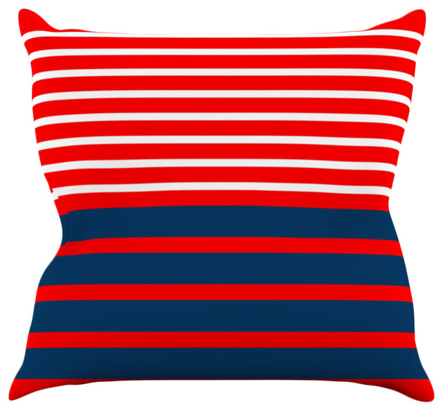 trebam nauticki red navy lines throw pillow 16 x16 bord de mer coussin par kess global. Black Bedroom Furniture Sets. Home Design Ideas