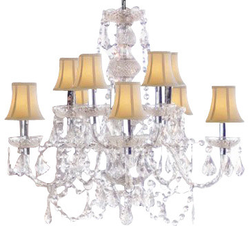 Authentic All Crystal Chandelier With White Shades Traditional Chandeliers By Gallery
